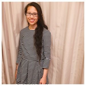 GAP Striped Pleated Dress